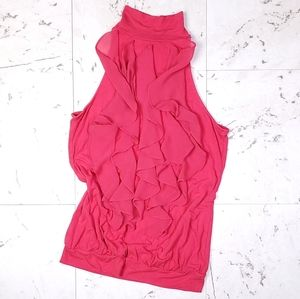 THE LIMITED Sleeveless Top Ruffles Pink Size XS